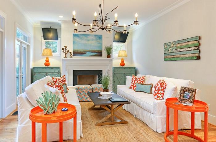 intérieur moderne déco en couleur corail
