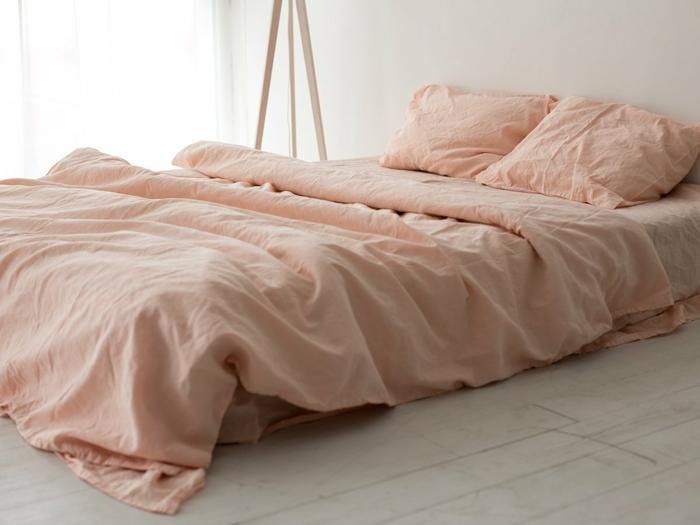 linge de lit en lin couleur abricot