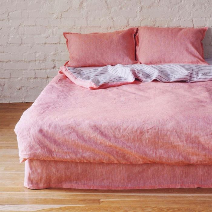 linge de lit en lin couleur rose