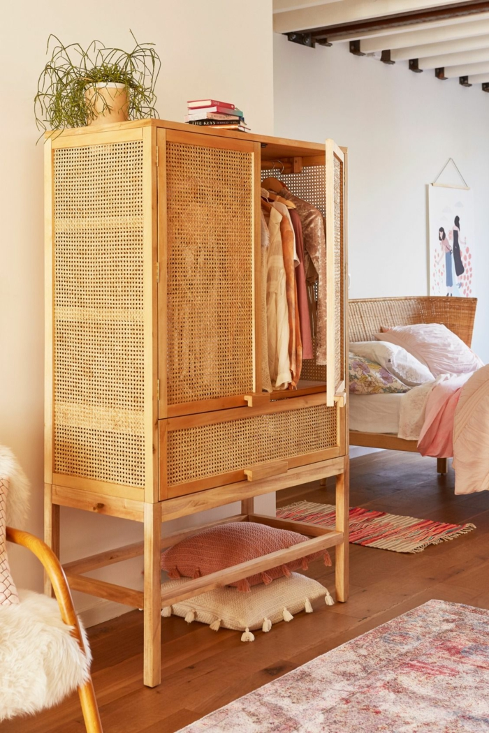 meuble chambre en cannage