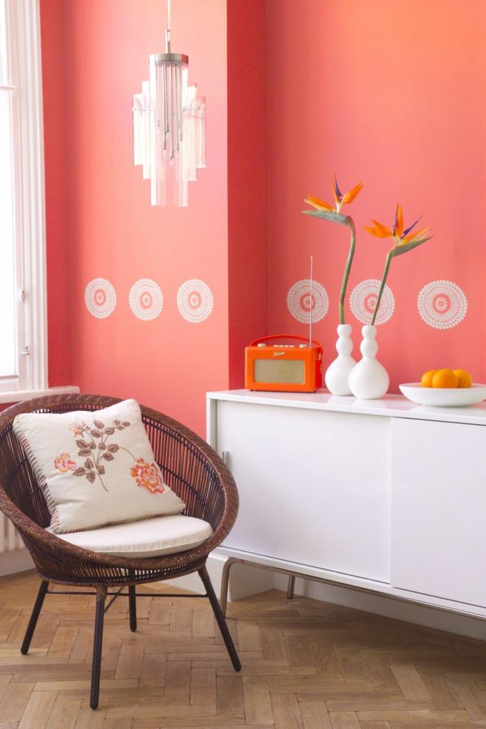 peinture murale couleur corail salon