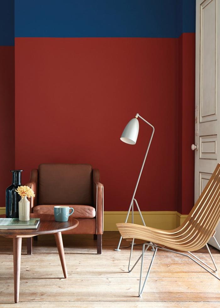 petit salon mur en couleur lie de vin et bleu