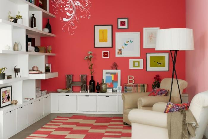 petit salon peinture murale couleur corail