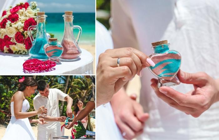 rituel du sable mariage avec du sable turquois