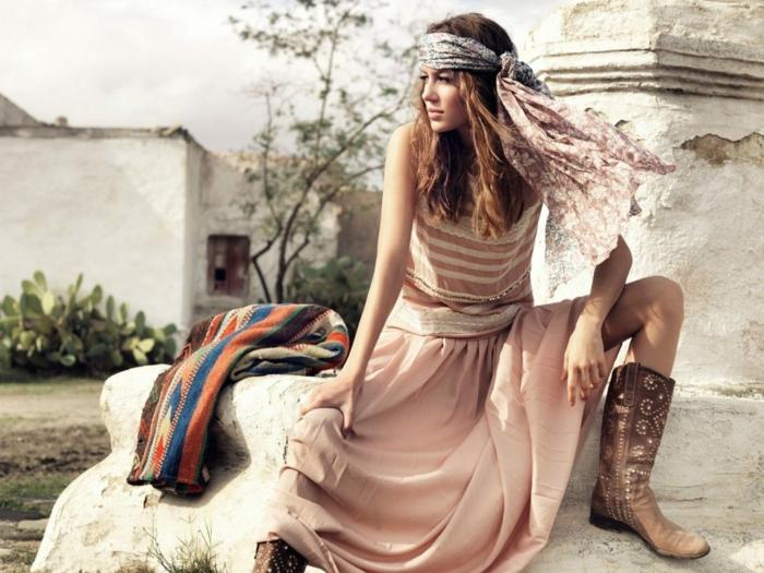 robe longue bohème à porter avec un foulard