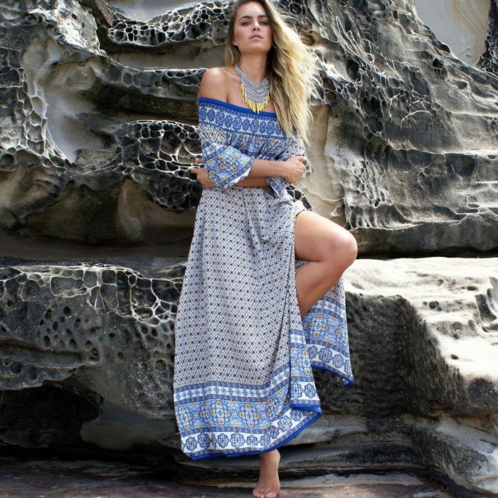 robe longue bohème à porter sur la plage