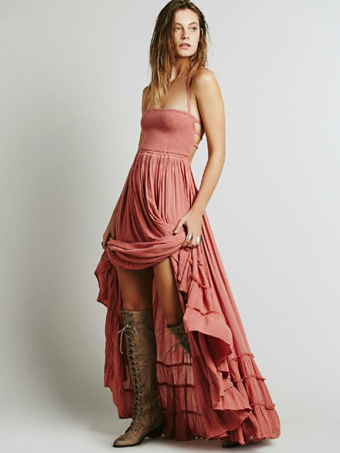 robe longue bohème couleur corail