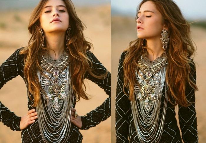robe longue bohème et bijoux modernes