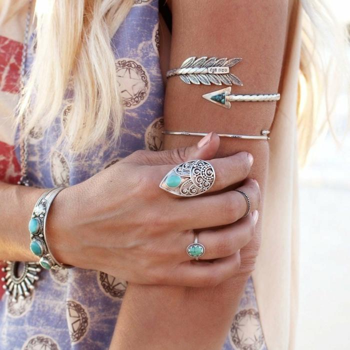 robe longue bohème idée de bijoux