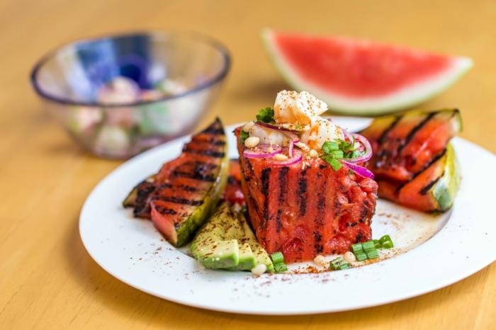 salade à la pastèque et crevettes