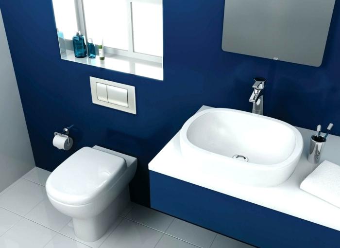 salle de bains blanc et couleur indigo