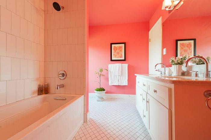 salle de bains peinture murale en couleur corail