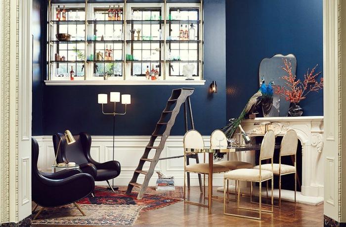 salon bohème chic peinture murale couleur indigo
