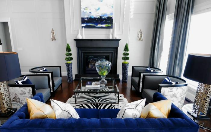 salon canapé et coussins en couleur indigo