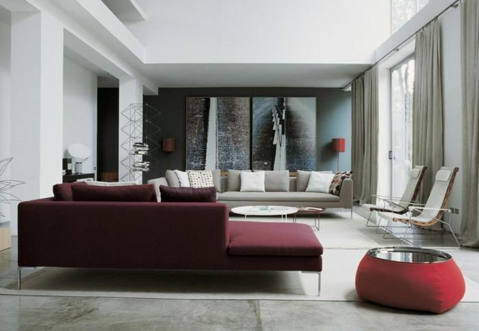 salon design canapé gris et couleur lie de vin