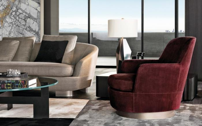salon fauteuil moderne en couleur lie de vin