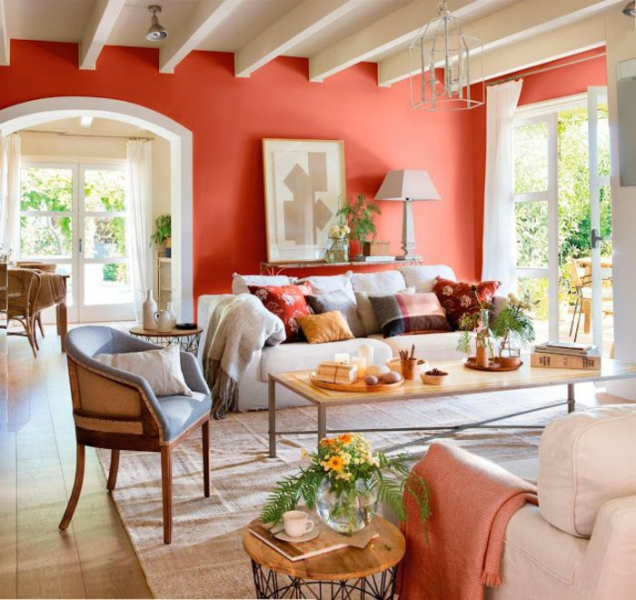 salon peint en couleur corail