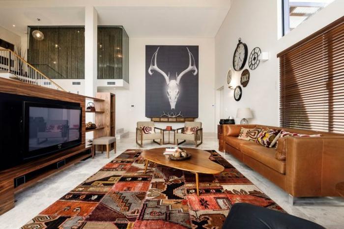 style hippie chic déco salon tapis berbère