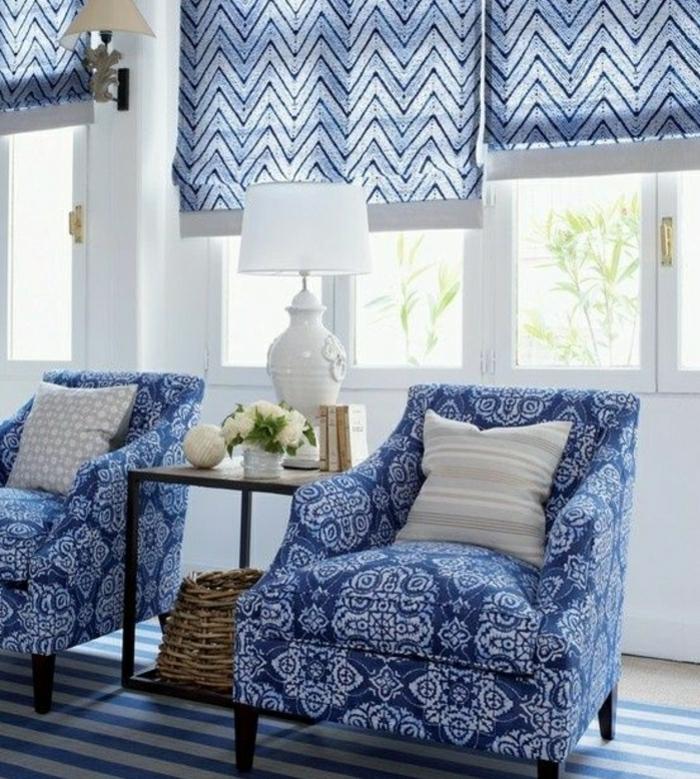 idée déco salon fauteuils rideaux couleur indigo