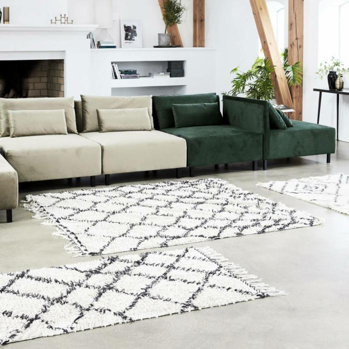 tapis berbère coton blanc motifs graphiques