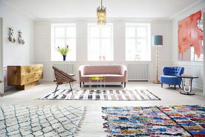 tapis berbère dans le salon atmosphère décontractée