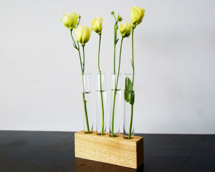 vase soliflore support de bois