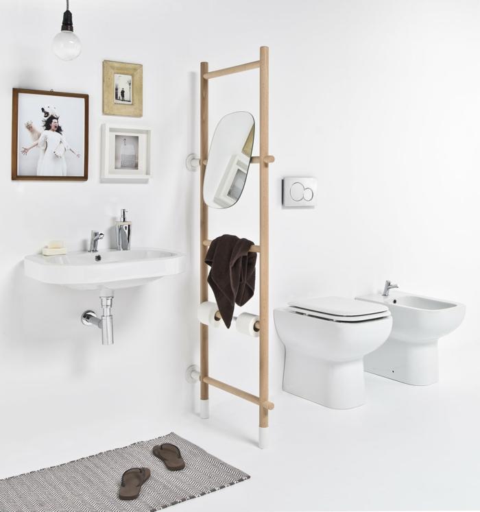 échelle bois déco dans la salle de bains