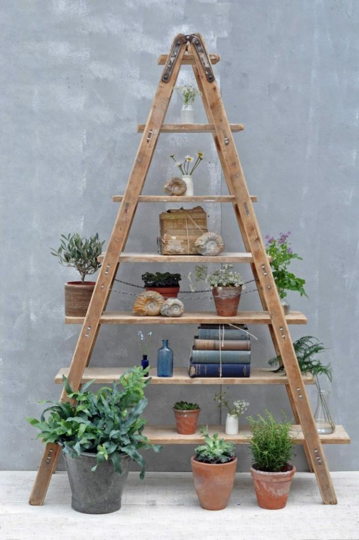 échelle bois déco idée pour les pots de fleurs