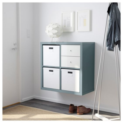 étagères Ikea Kallax petit espace pour chaussures et accessoires