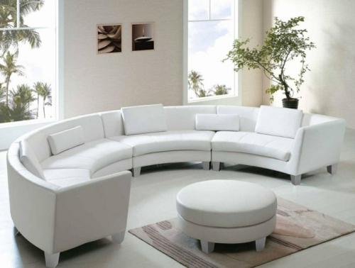 Canapé rond canapé en cuir blanc