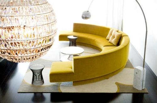 Canapé rond canapé jaune en deux parties