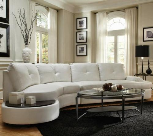 Canapé rond canapé luxueux en cuir blanc