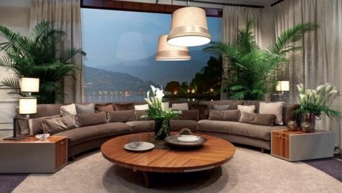 Canapé rond grand canapé avec deux rangées de coussins