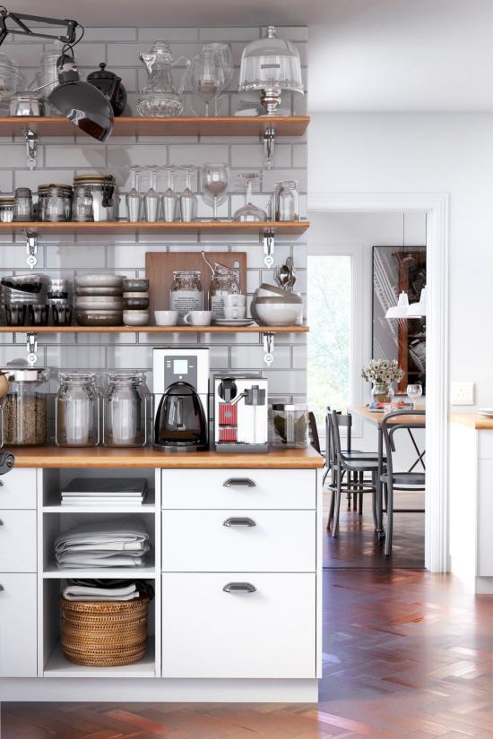 Cuisine tendances étagères et tiroirs