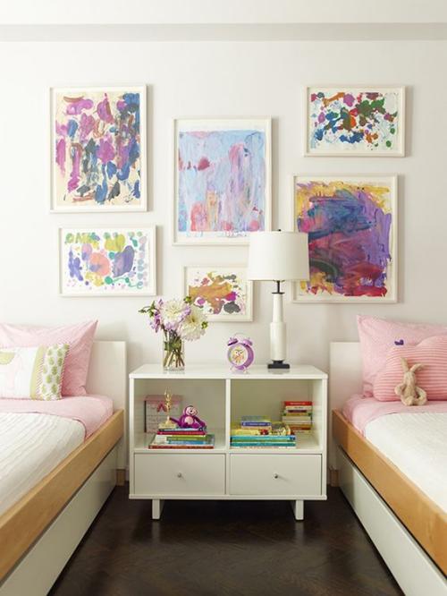 DIY mur gallerie enfants chambre pour deux enfants