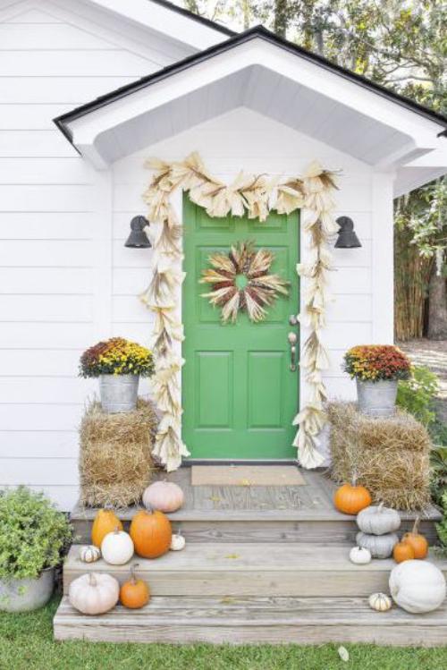 Idées couronnes d'automne belle maison, belle porte