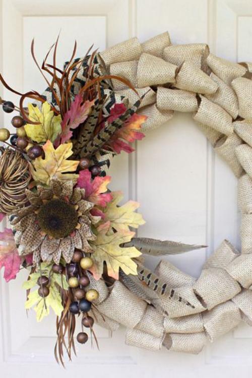 Idées couronnes d'automne cercle en rubans gris