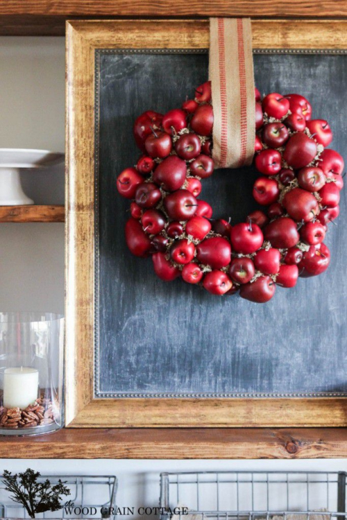 Idées couronnes d'automne couronne de pommes rouges