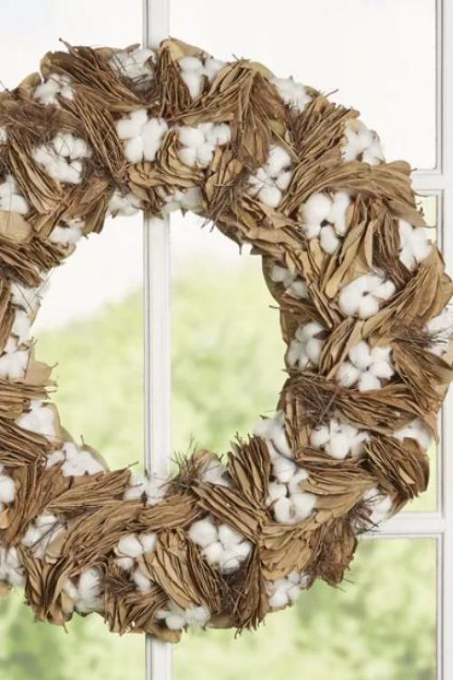 Idées couronnes d'automne couronne en blanc et beige