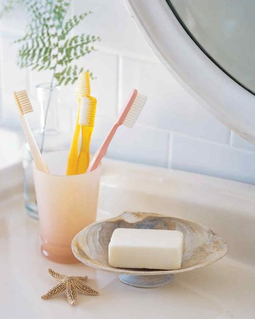Idées d'artisanat de coquillages accessoires pour la salle de bains
