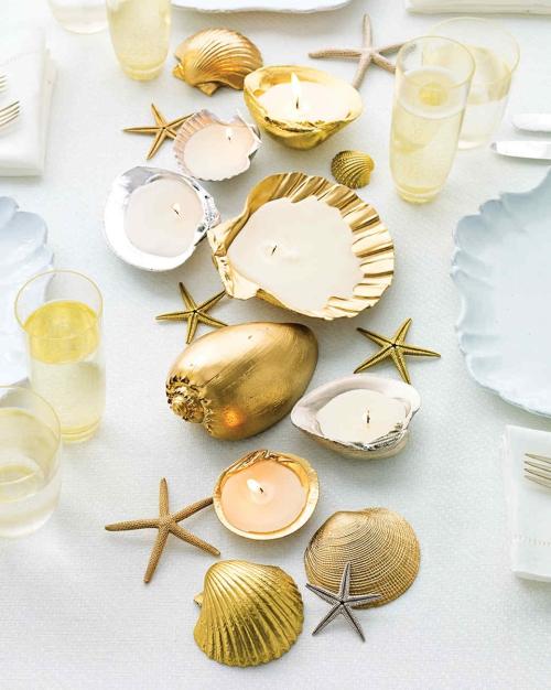 Idées d'artisanat de coquillages bougeoirs brillants