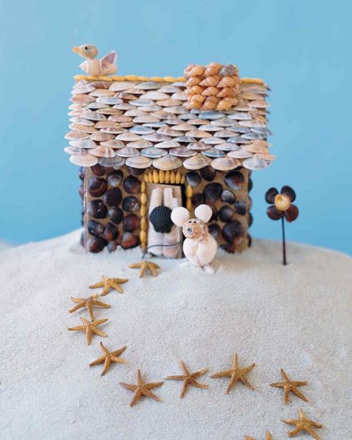 Idées d'artisanat de coquillages petite maison en coquillages