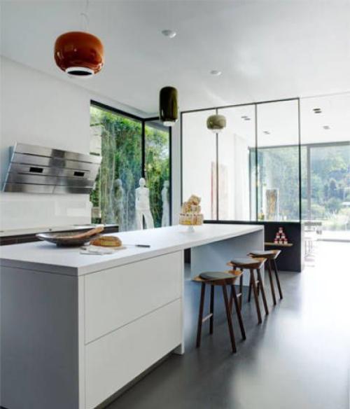 Idées de cuisine moderne chaque saison espace étroit en blanc