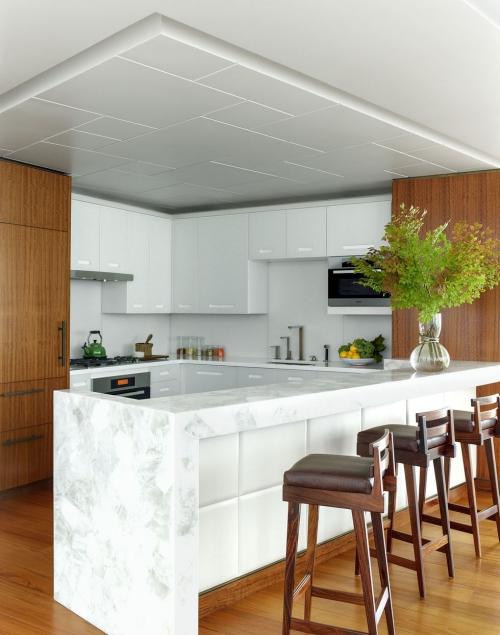 Idées de cuisine moderne chaque saison grand espace plafond blanc