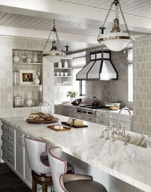 Idées de cuisine moderne chaque saison murs en carreaux