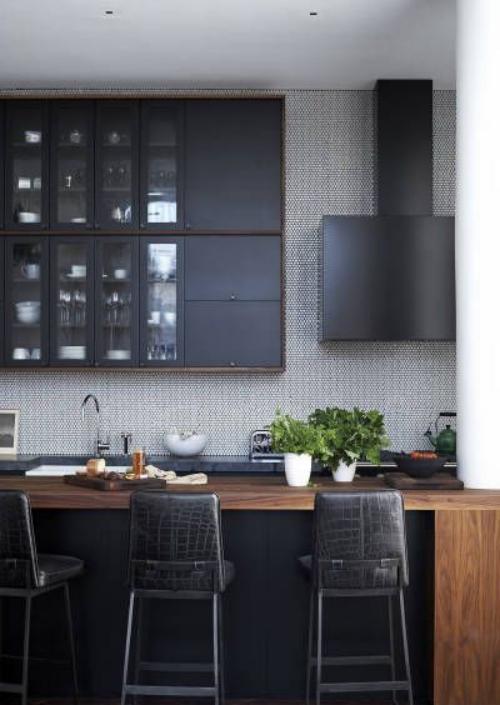 Idées de cuisine moderne chaque saison petit espace en gris et brun