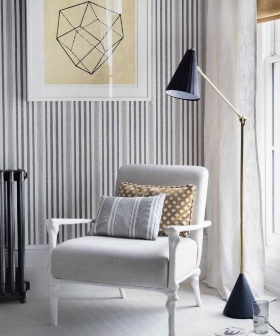 Idées de fond d'écran de salon combinaison du blanc et du gris rayures