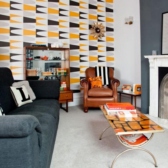 Idées de fond d'écran de salon jolies figures en blanc jaune et noir