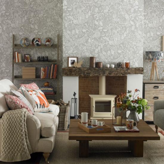 Idées de fond d'écran de salon la forêt sur le mur