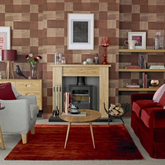 Idées de fond d'écran de salon murs imitation bois